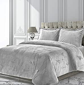 Tribeca Living Veniceduvettwsi Venice Velvet Oversized Solid Duvet Set, Twin, Silver Grey