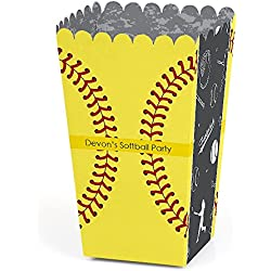 Big Dot of Happiness Personalized Grand Slam - Fastpitch Softball - Custom Birthday Party or Baby Shower Favor Popcorn Treat Boxes - Custom Text - Set of 12