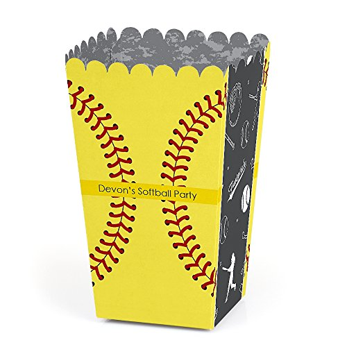 Personalized Grand Slam - Fastpitch Softball - Custom Birthday Party or Baby Shower Favor Popcorn Treat Boxes - Custom Text - Set of 12 -