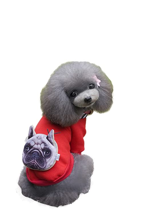 Evergreens rayas Hoodied mascota abrigo con bolsa de cabeza de perro en la parte trasera