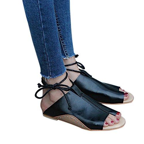 YoungSoul Sandalias Planas Para Mujer, Chanclas de Cuero Sintético con Lazada EN La Pierna Zapatos Peep Toe de Verano Negro