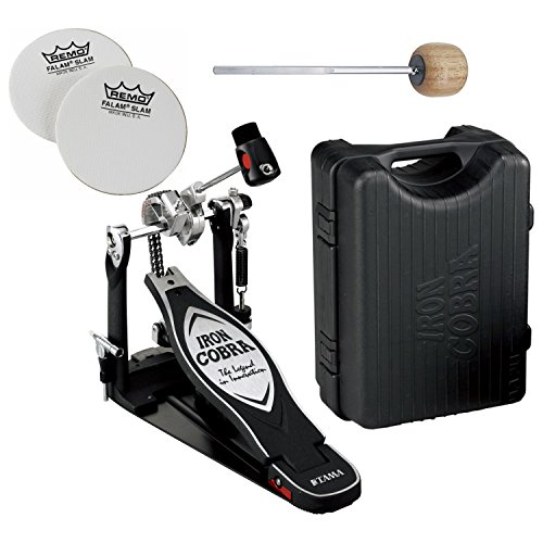 Tama Drum Case - TAMA HP900RN Iron Cobra 900 Series Rolling Glide Single Bass Drum Pedal w/ Impact Patches and Extra Wood Beater