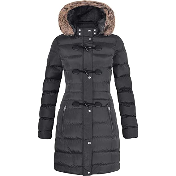 cafe2df1794 Spindle Womens Long Fur Trimmed Hooded Padded Puffer Parka Ladies Winter  Jacket Coat  Amazon.co.uk  Clothing