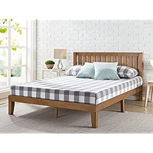 Zinus 12 Inch Wood Platform Bed with Headboard/No Box Spring Needed/Wood Slat Support/Rustic Pine Finish