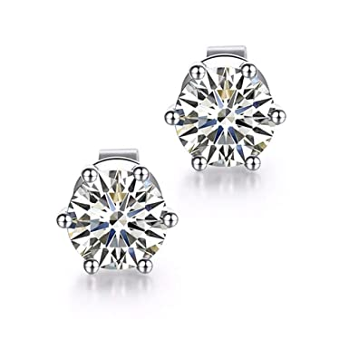 db777d391 TOPIND Classic Round 0.5ct Moissanite Six Claw Stud Earrings in 18K White  Gold