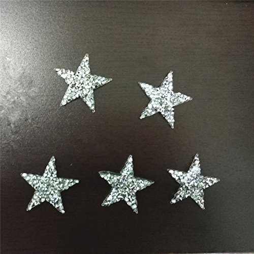 10pcs/lot Sparkling Rhinestone Five-pointed Star Pattern Clothes Patches Fashion Sequined Shoes/hats/bags Appliques Bling Iron-on Patches (Applique Hat)