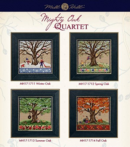 Mighty Oak Beaded Counted Cross Stitch Kits 2017 Mill Hill Quartet (Set of 4: Fall, Spring, Summer, Winter) by Mill Hill