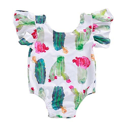 e95415c4e2a2 BabiBeauty Baby Girls Romper Toddler Girls Cactus Ruffle Short Sleeve  Jumpsuitt Onesies