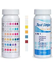 Pool Testing Kit for Above Ground Pool,6 Way Pool and Spa Test Strips for Chlorine Bromine - Chemical Tester Strips for Fast and Accurate Water Maintenance - 100 Count