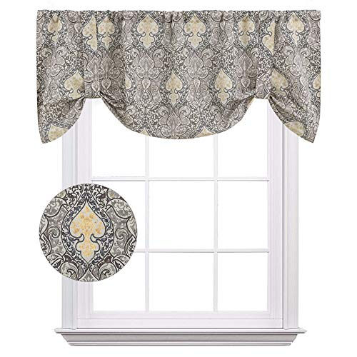 (Damask Printed Tie Up Valances for Kitchen Windows Vintage Multicolor Medallion Printed Linen Look Tie-up Valance Curtains Rod Pocket Adjustable Tie Up Shades for Windows (1 Panel, Grey, 18-Inch))