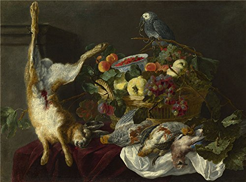 The Perfect Effect Canvas Of Oil Painting 'Jan Fyt A Still Life With Fruit Dead Game And A Parrot ' ,size: 8 X 11 Inch / 20 X 27 Cm ,this Cheap But Art Decorative Art Decorative Canvas Prints Is Fit For Laundry Room Decor And Home Decoration And Gifts - Dj Dead Mouse Costume
