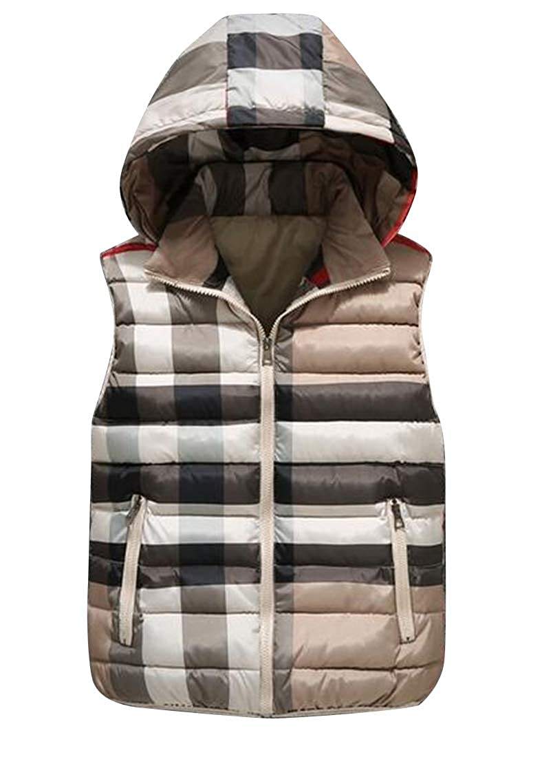 Fubotevic Men Hoodie Sleeveless Thermal Plaid Big and Tall Down Quilted Coat Vest Jacket
