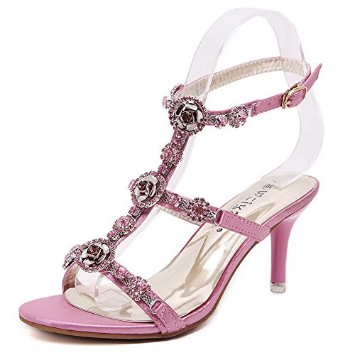 AgooLar Women's Soft Material Buckle Open Toe Spikes Stilettos Solid Sandals Pink XLbJPiL