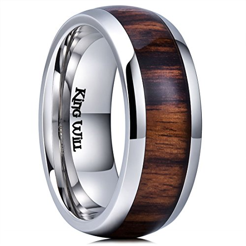 King Will Nature 8mm Mens Real Wood Inlay Titanium Wedding Ring High Polished Dome Style10.5