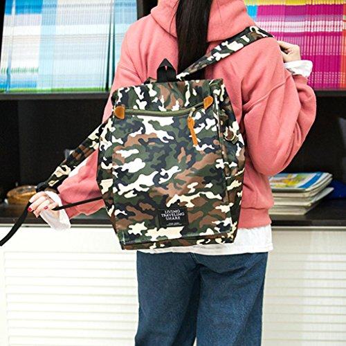 Mochila de Lona Hombro Bolsas para ESAILQ Cartera Bolsa Mujer Camuflaje Viajar por de de Ocio rqxZr1