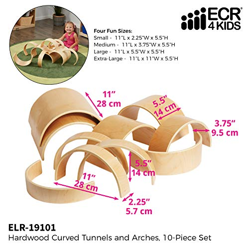 ECR4Kids Natural Hardwood Curved Play Tunnel and Arch Blocks (10-Piece)