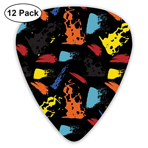 LiuYiFeii Seamless Repeating Pattern of Brush Strokes Vector 12pcs Guitar Picks Rock Band Mix Guitar Picks Musical Accessories,Rock Band Guitar Picks