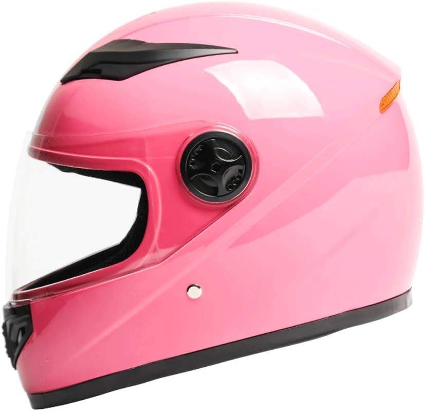 OUTO Descubriendo el Casco de Montar al Aire Libre para Hombres y Mujeres Espejo de protección Fuerte HD Casco Integral para Mantener el Calor (Color : Pink)