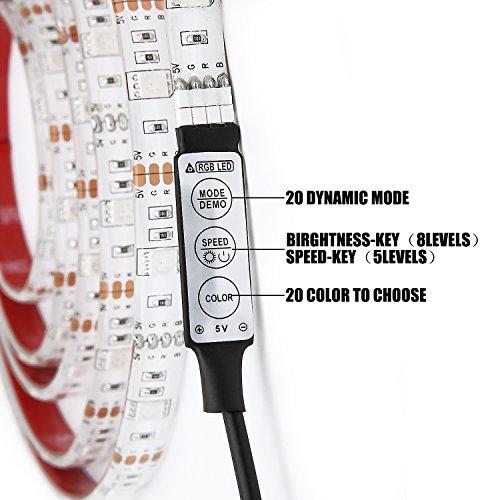 YUHAN USB Powered LED Light Strip,1M(3.28FT) DC5V 5050 RGB LED Lights 20 Color Options Waterproof TV Backlight Background Lighting Built-in Controller for HDTV,TV,PC,LCD Desktop Monitors (1M/3.28FT)