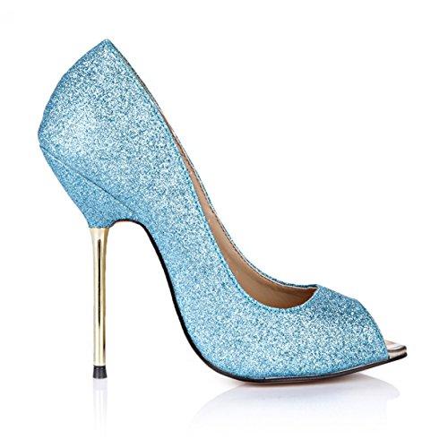 Glitter Peep Høy Tynne Hæler Kvinner Stiletto Pumper Med Flere Farger Fashion Dorsay Dolphingirl Sko Prime Skinnende Blå