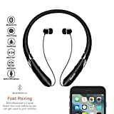 Bluetooth Headphones Retractable Earbuds Neckband Wireless Headset Sport Sweatproof Earphones with Mic for iPhone Android Cellphone (Bluetooth 4.1,Noise Cancelling , 14 Hours Play Time) (Matte Black)