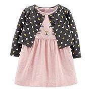 Carter's Baby Girls 2 Piece Bodysuit Dress and Cardigan Sweater Set, Kitty, Newborn