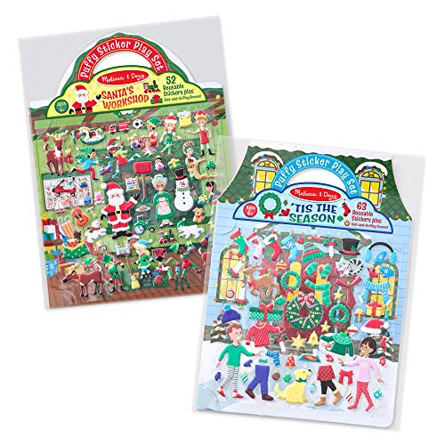 (Melissa & Doug Puffy Reusable Sticker Pad Sets -Santa's Workshop & 'Tis the Season Activity Books)