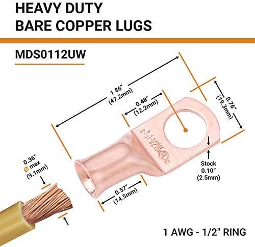câble cosses thermorétractables 1//0 Gauge 1//0 Awg rouge ou noir et soudage câble de la batterie