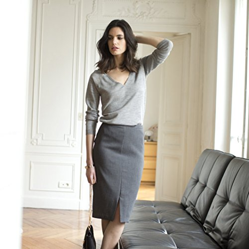 La Redoute Womens Pencil Skirt In Stretch Fabric With Side Zip Grey Size Us 4 - Fr 34