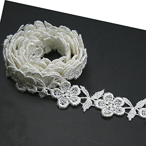 hite and Ivory Rayon Floral Flower Venice Lace Trim By 2 Yards (Ivory) ()