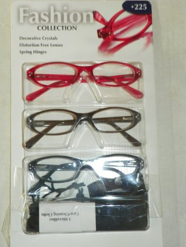 Woman's Crystal High Fashion Reading Glasses +2.75 Package of 3 Pair Plus Microfiber Case/cleaning - Decorative Reading Glasses