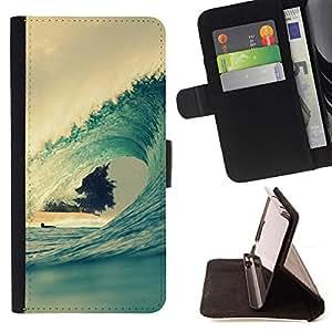 BullDog Case - FOR/Samsung ALPHA G850 / - / surf wave summer ocean vignette blue /- Monedero de cuero de la PU Llevar cubierta de la caja con el ID Credit Card Slots Flip funda de cuer