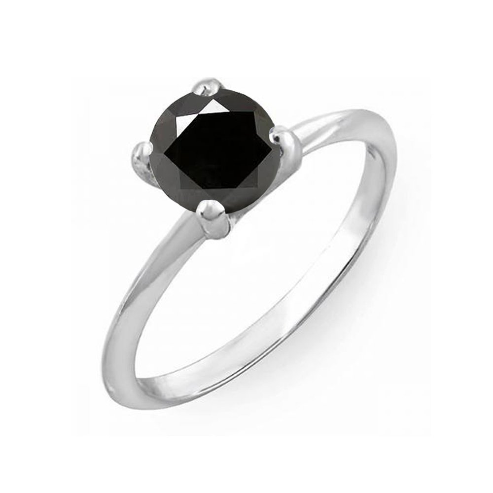 Dazzlingrock Collection 0.50 Carat (ctw) Sterling Silver Black Diamond Bridal Engagement Solitaire Ring 1/2 CT, Size 5.5 by Dazzlingrock Collection