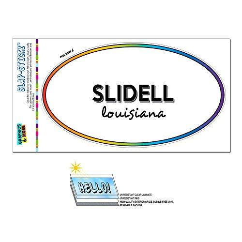 Graphics and More Rainbow Euro Oval Window Laminated Sticker Louisiana LA City State Shr - Zac - (City Of Slidell)