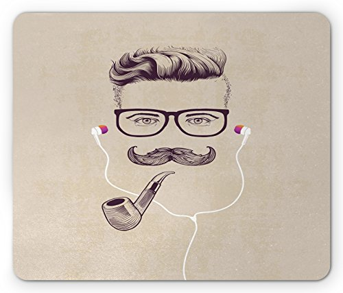 Price comparison product image Lunarable Mustache Mouse Pad, Sketched Hipster Guy Wearing Eyeglasses Smoking Pipe and Earphones, Standard Size Rectangle Non-Slip Rubber Mousepad, Dark Purple Tan and White