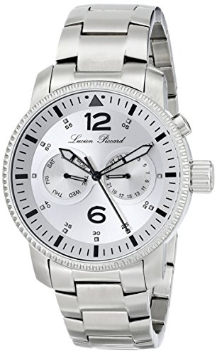 Lucien Piccard Mens Lp 13017 22S Expeditor Analog Display Swiss Quartz Silver Watch