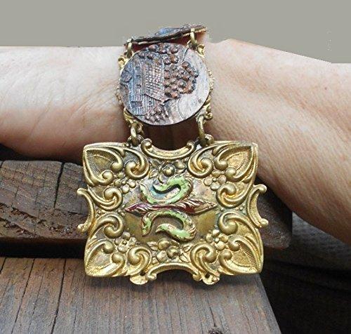 Victorian Etruscan Brass Copper Cuff Bracelet, 100 Yr old Copper Pieces of Traveler Walking, Brass Le Fleurs, Wear as 7 1/2