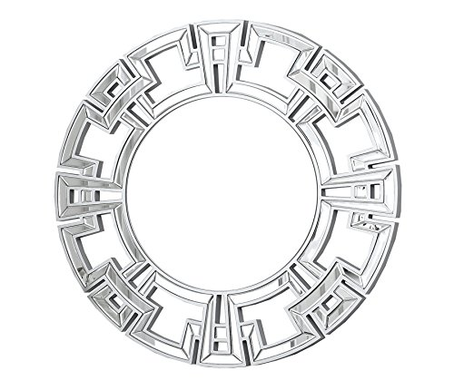 Abbyson Zentro Round Wall Mirror, Silver for sale  Delivered anywhere in USA