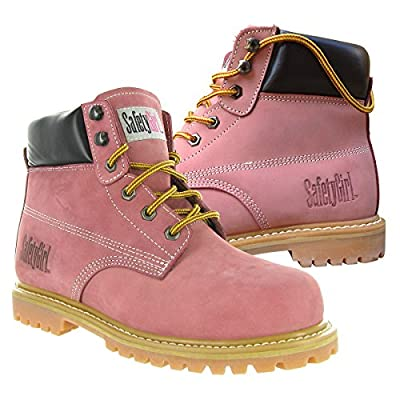 "SafetyGirl GS002 Nubuck Leather Steel Toe Water resistant Work Boot, 6"" Height, Light Pink"
