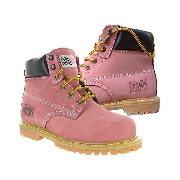 Safety Girl GS003-Lt Pink-5W Steel Toe Work Boots - Light Pink - 5W, English, Capacity, Volume, Leather, 5W, Pink () 2