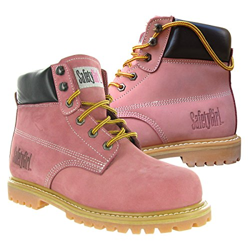 """SafetyGirl GS002 Nubuck Leather Steel Toe Water resistant Womens Work Boot, 6"""" Height, 6W, Light Pink 2"""