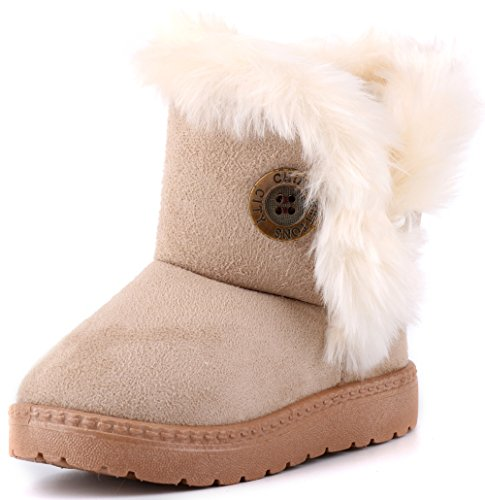 LONSOEN Kid's Faux Fur Booties Winter Warm Shoes(Toddler/Little Kid) Beige KDB005 CN21