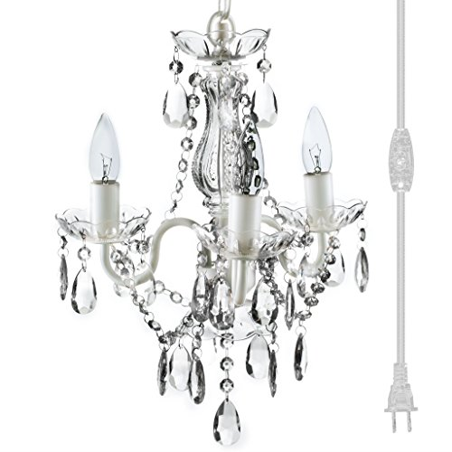 The Original Gypsy Color 3 Light Mini Plug-in Crystal Chandelier for H17 W12 , White Metal Frame with Clear Acrylic Crystals Better Than Glass