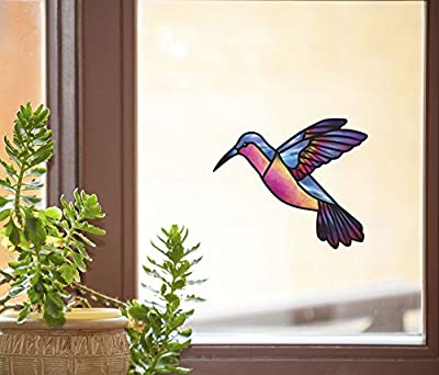 Hummingbird - Stained Glass Style - See-Through Vinyl Window Decal - Copyright Yadda-Yadda Design Co.(COLOR and SIZE CHOICES)