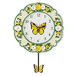 Collections Etc Yellow Butterfly and Daisy Wall Clock with Swinging Pendulum, Hand-Painted Detail