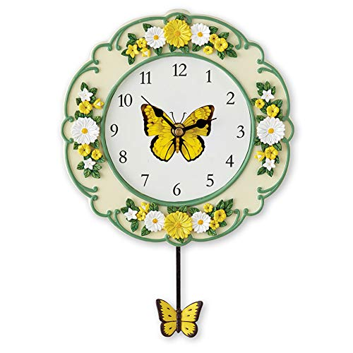 (Collections Etc Yellow Butterfly and Daisy Wall Clock with Swinging Pendulum, Hand-Painted Detail)
