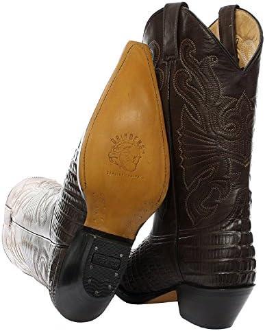 Grinders Meuleuses Caroline Cowboy Western Bottes en Cuir Marron Genou Haute Bottes