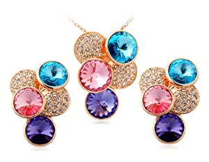 OnceAll Rigant 18K RGP Alloy Circle Necklace & Earring Set (Golden) M.