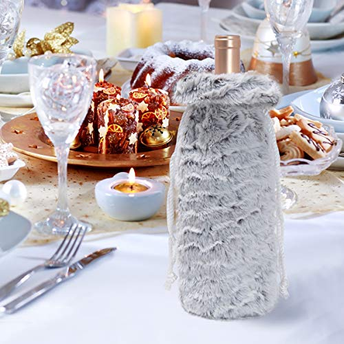S-DEAL Wine Bag Drawstring Faux Fur 14x6 Inch Botttle Cover Dinner Party Wedding Hotel Table Decoration Xmas Ornament ()
