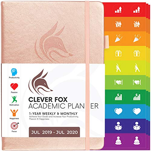 Clever Fox 2019-2020 Academic Weekly & Monthly Planner to Increase Productivity, Time Management and Hit Your Goals - Organizer, Gratitude Journal - A5, Lasts 1 Year, Rose Gold (Weekly)